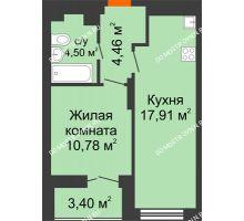 1 комнатная квартира 39,35 м² в ЖК КМ Анкудиновский парк, дом № 20 - планировка