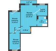 3 комнатная квартира 75,83 м² в ЖК Плодово-Ягодный, дом № 1 - планировка