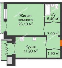 1 комнатная квартира 51,1 м², Жилой дом: г. Дзержинск, ул. Кирова, д.12 - планировка