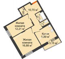 2 комнатная квартира 57,09 м², Жилой дом Кислород - планировка