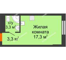 Студия 23,9 м², Комплекс апартаментов KM TOWER PLAZA (КМ ТАУЭР ПЛАЗА) - планировка